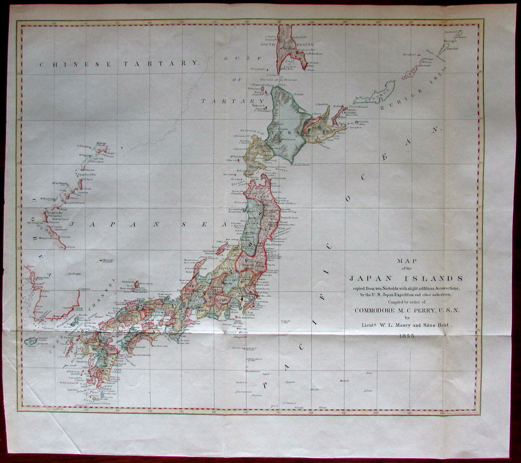 Japan islands 1856 Perry map from von Siebold U.S. Expedition hand colored Corea