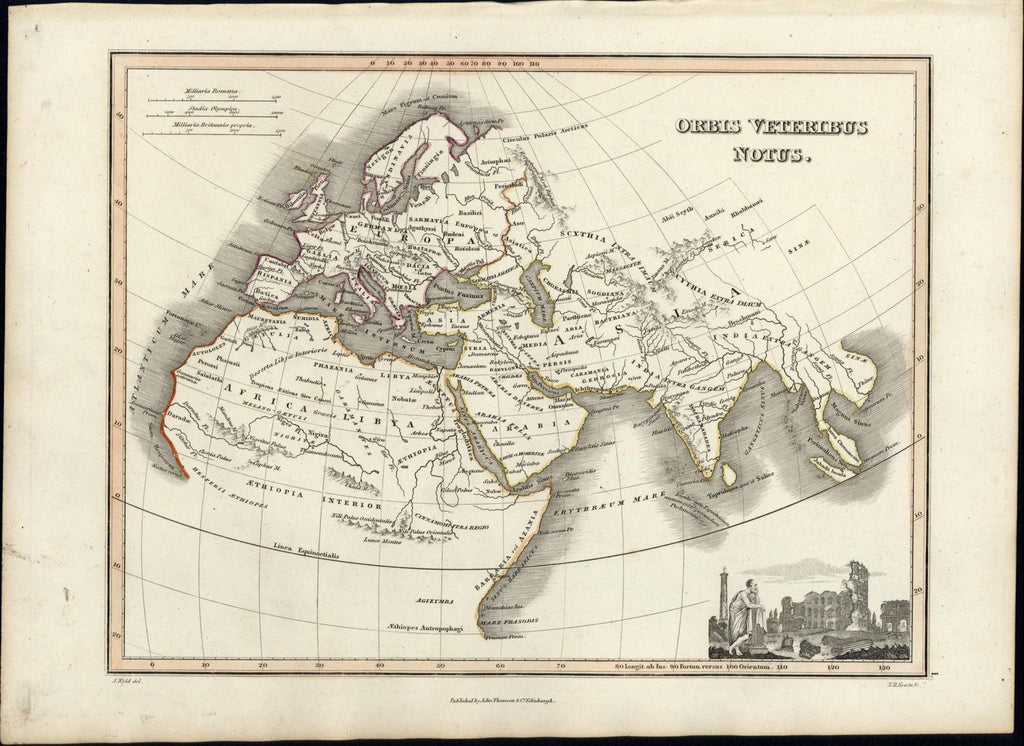 Ancient World Europe Africa Asia vignette Roman Ruins 1819 Thomson antique map