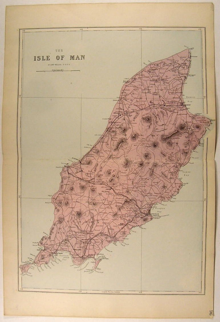 Isle of Man United Kingdom England Irish Sea c. 1880 antique Weller map