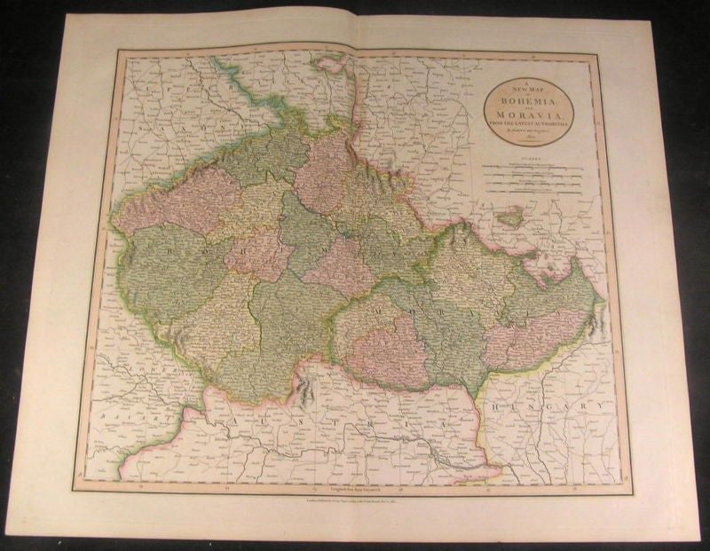 Bohemia Moravia Austria 1801 Cary fine engraved folio antique hand color map