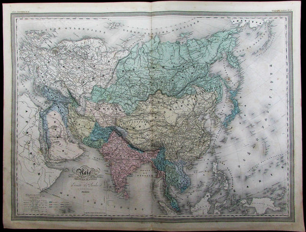 Asia Persia Tibet Hindoostan Arabia Siam India c.1865 Dufour old antique map