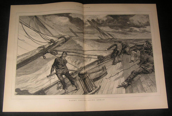 Yacht Racing Tilted Deck Windy Day Rough Waves 1875 antique engraved print