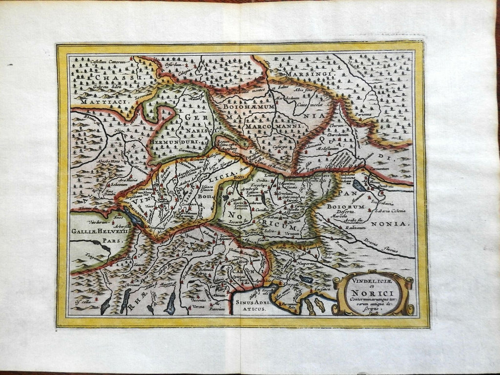 Ancient World Roman Empire Vindeliciae Noricum Rhaetia 1661 engraved map