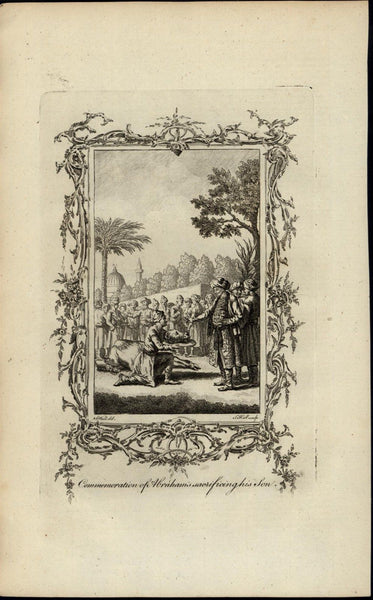 Abraham Sacrificing Son Ceremony Bible ca. 1780's fascinating old engraved print