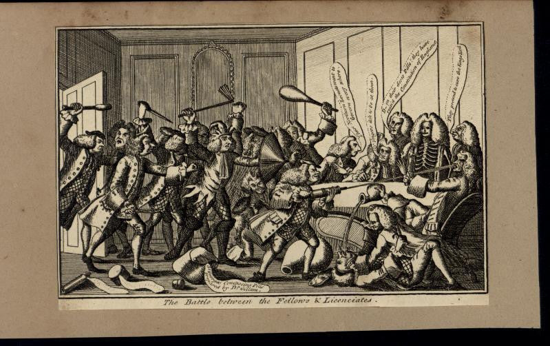 Battle Between Fellows & Licenciates Armed Mob c.1780 antique engraved print