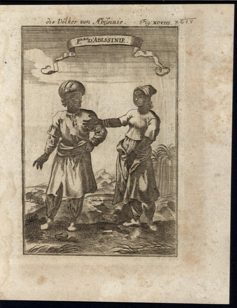 Africa Natives of Abyssinia Gold Bracelets Jewelry 1719 antique Mallet print