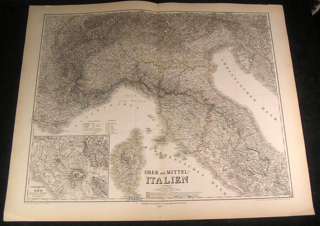 Upper & Central Italy Corsica Rome Environs 1855 antique engraved hand color map