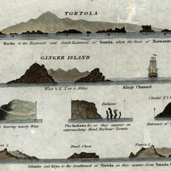 Virgin Islands Tortola Ginger 1827 Blunt nautical chart lovely hand colored map