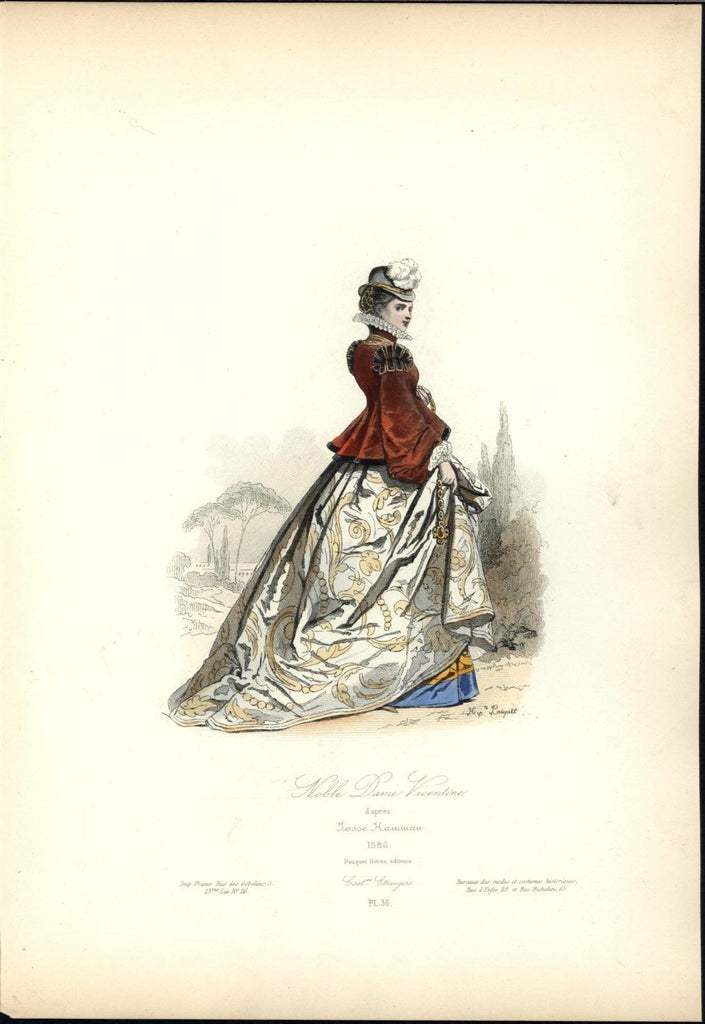 Beautiful Noble Woman Gold & Gem Jewelry c.1870 antique hand color costume print