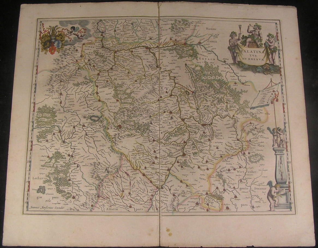 Palatinatus ad Rhenum Germany 1644 Jansson folio old color antique map