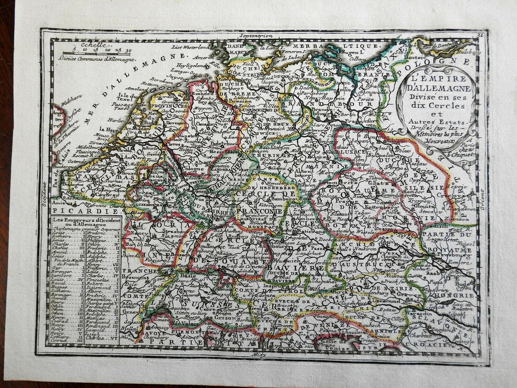 Holy Roman Empire Divided into Circles Austria Bavaria 1719 Chiquet engraved map