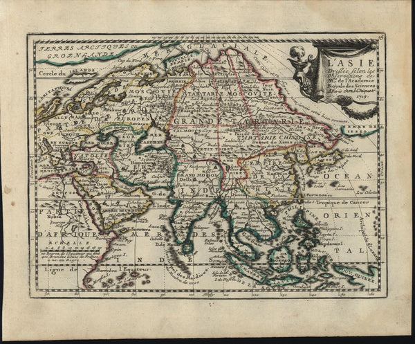 Asia Arabia India China Korea Grand Tartary Japan 1719 Chiquet decorative map
