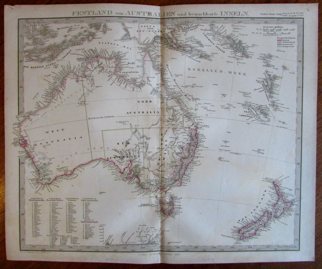 Australia pre-Queensland 1860 Berghaus Stieler early counties scarce old map