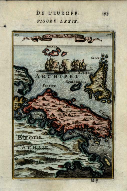 Euboea Skyros Greece Greek island 1683 Mallet miniature map lovely hand colored