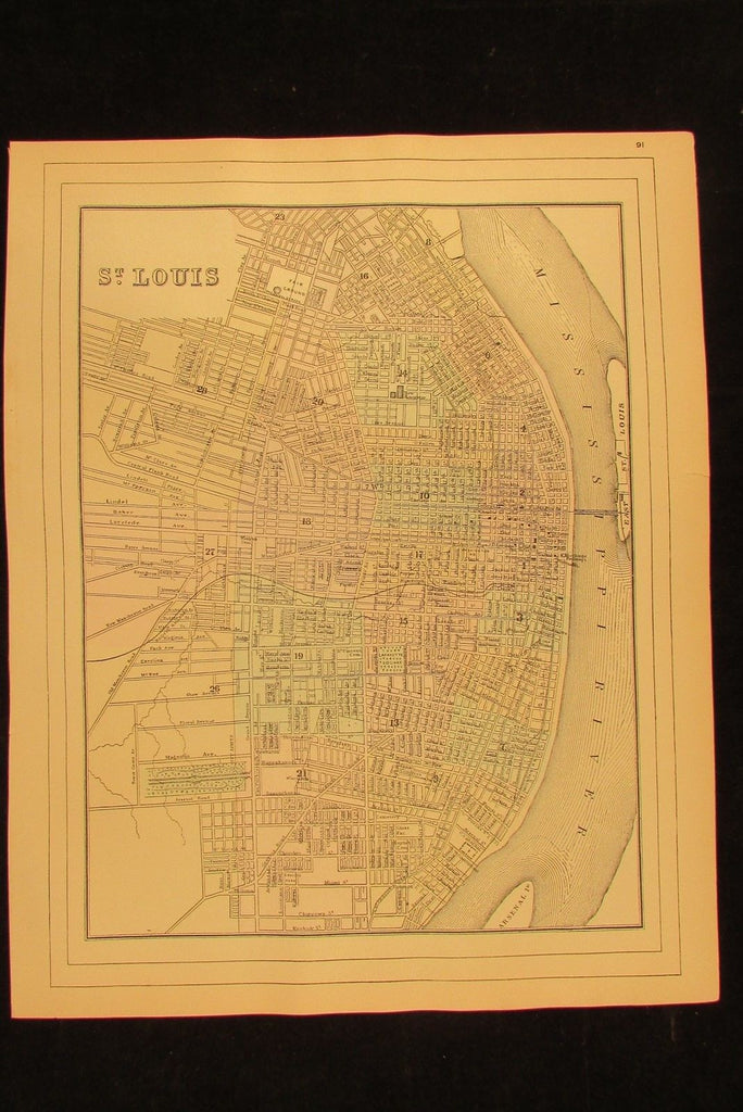 St. Louis city plan 1894 fine antique hand colored Wannamaker detailed old map
