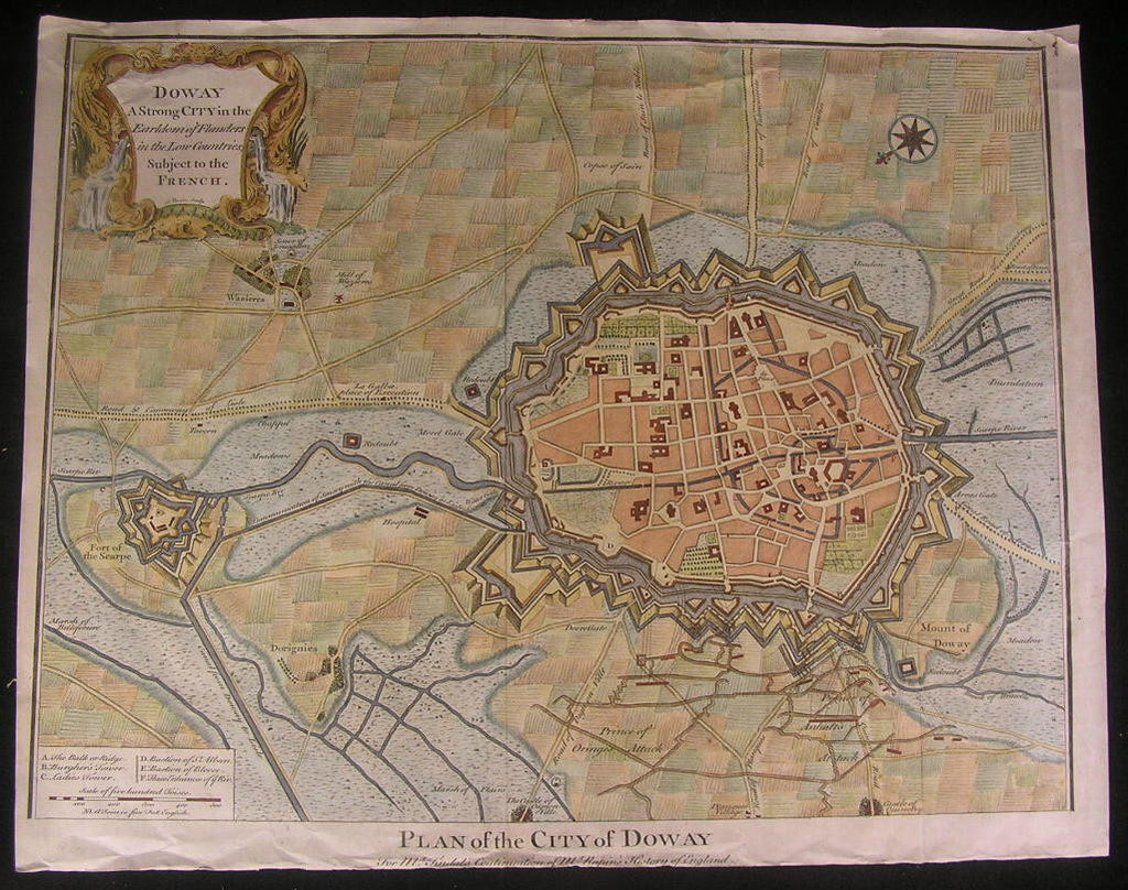 Douai Flanders Doway c.1730 fine old large vintage antique map