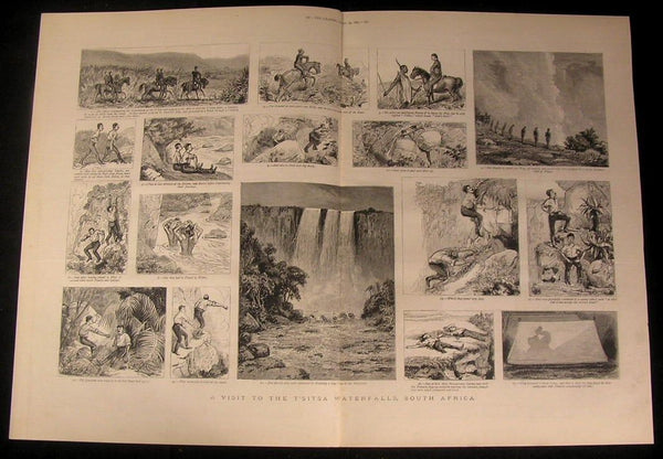T'sitsa Waterfalls South Africa Climbing Cliff 1883 antique wood engraved print