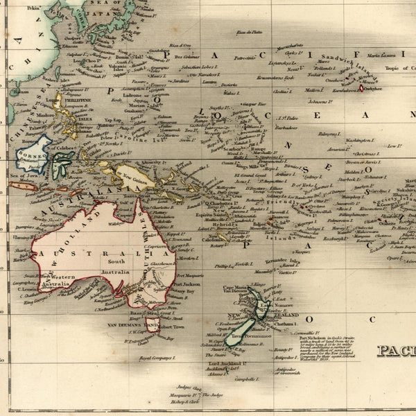 Australia NZ 1839 Pacific Ocean Polynesia islands c.1840 old map by Dower & Orr