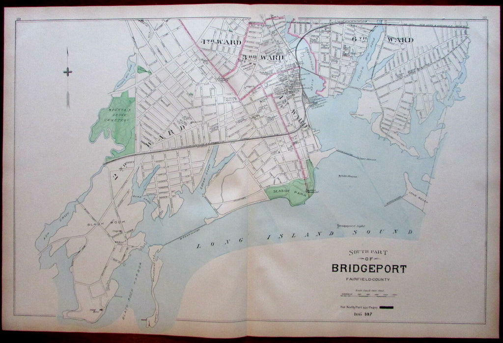 Bridgeport LI Sound Fairfield County city plan harbor 1893 Connecticut Hurd map