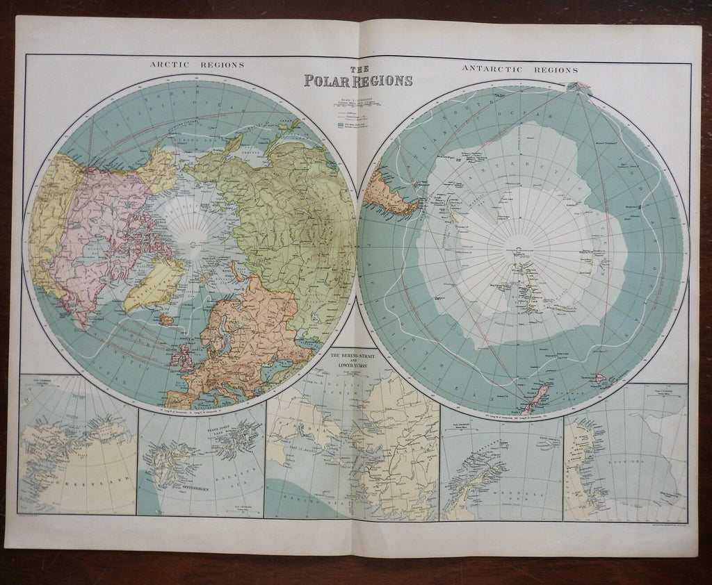 Polar Regions North & South Poles Bering Strait 1914 large scarce map