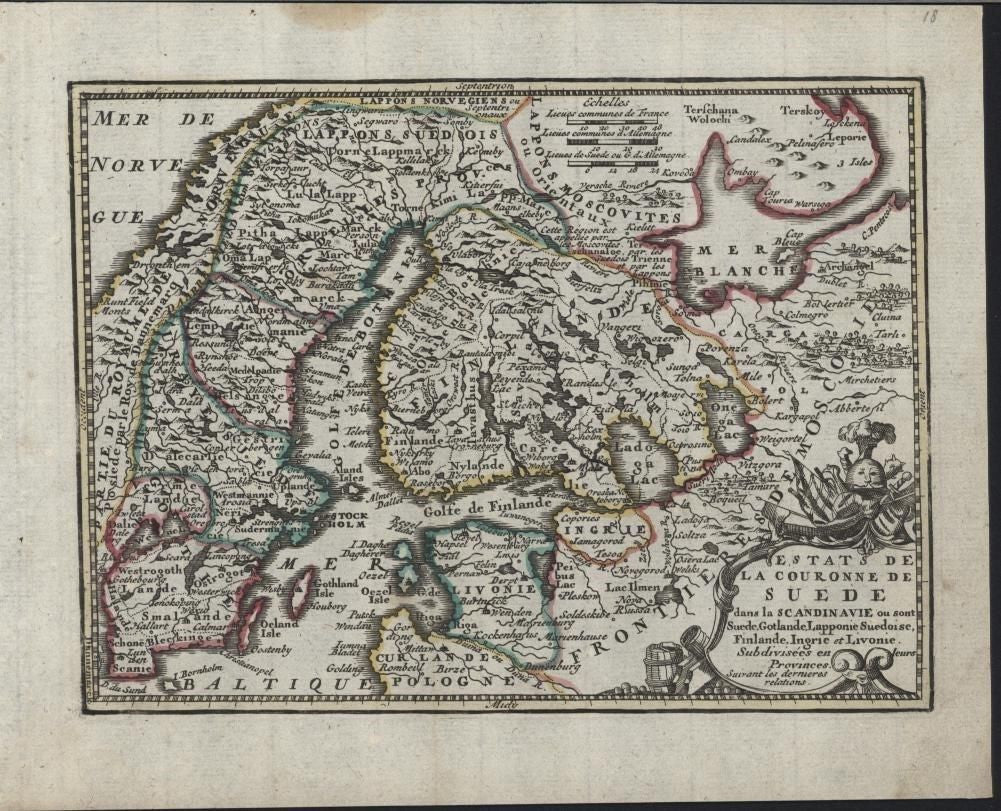 Sweden Livonia Moscovy c.1760 de Leth scarce re-issue of Chiquet antique map