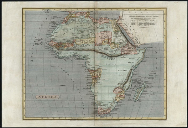 Africa continent vast Mts. of Moon chain 1807 beautiful Arrowsmith map
