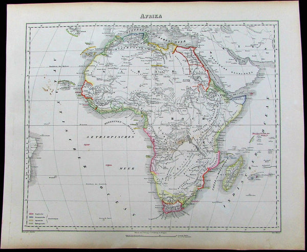 Afrika Africa English French colonies 1852 Flemming antique color map