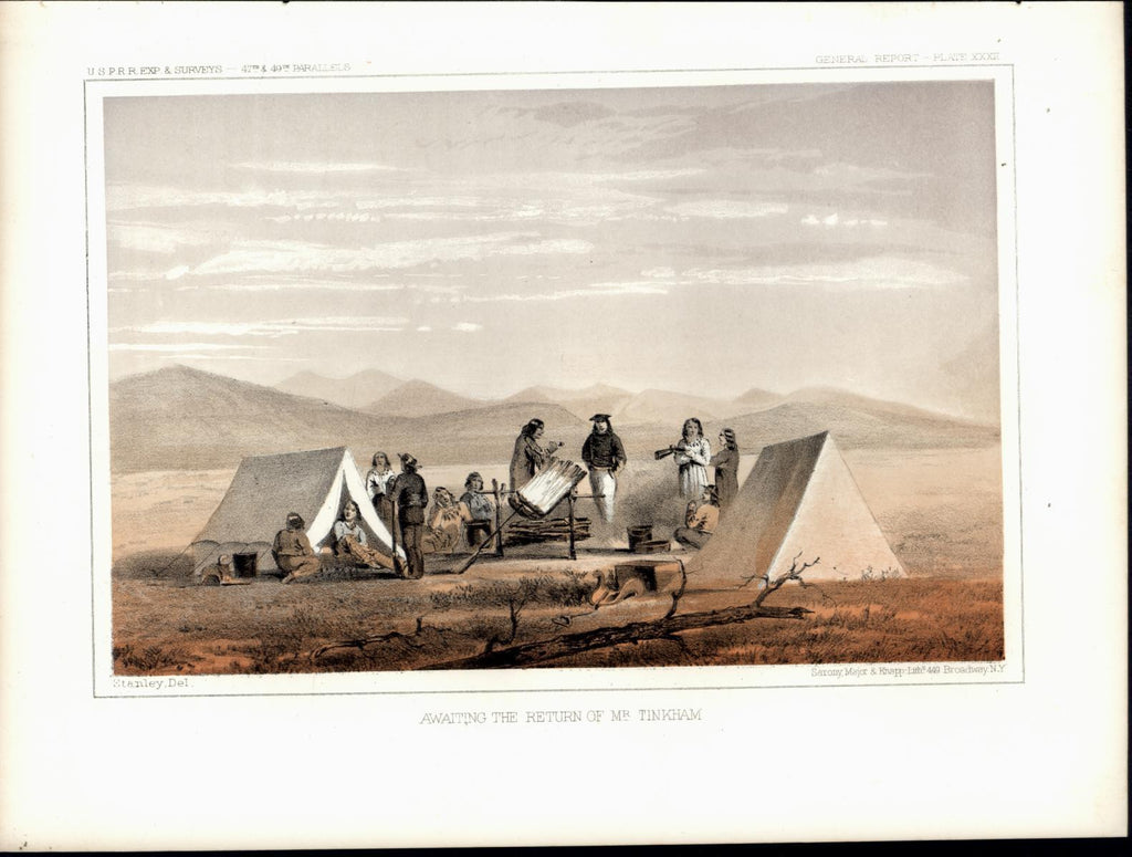 Prairie Campground Tents Pipe Smoking Rifles c. 1855 original antique view print