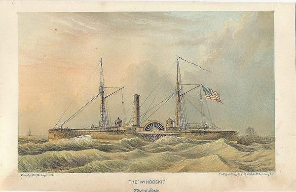 USS Winooski scarce 1867 original antique color lithograph sailing ship view