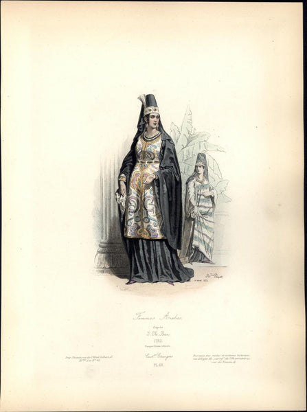 18th century Arab woman traditional dress c.1860 color ethnic costume print
