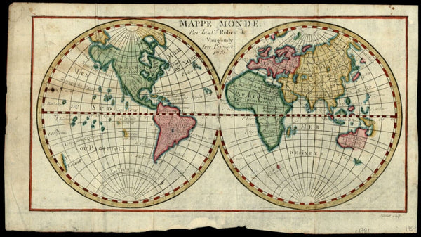 World double hemispheres huge Alaska incomplete Australia 1731 Vaugondy map