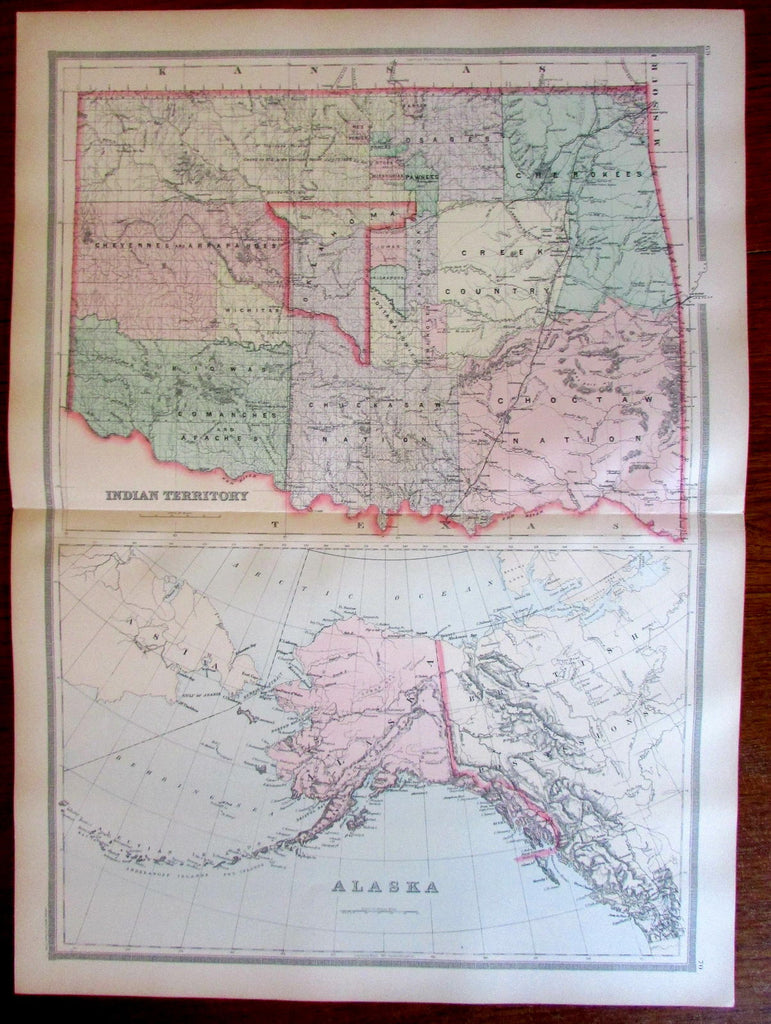 Indian Territory Alaska 1897 North America large old very detailed map