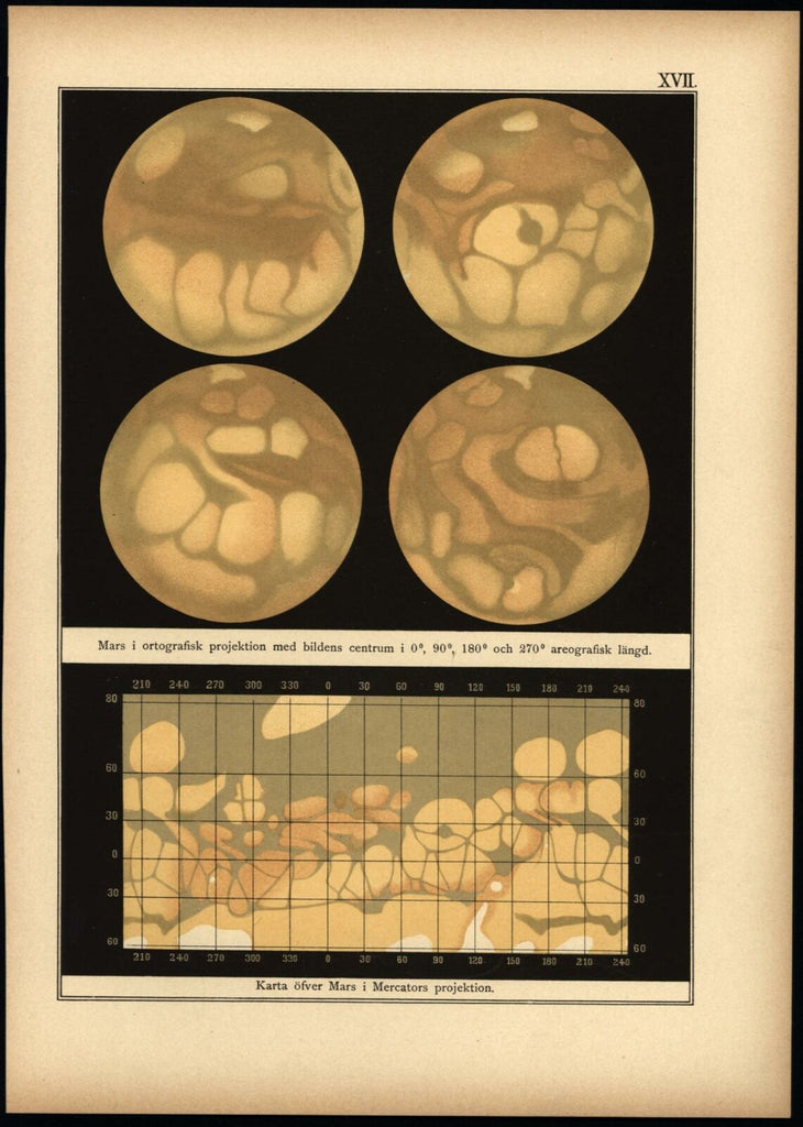 Mars Surface mapping 1888 Celestial planetary Swedish print beautiful scarce