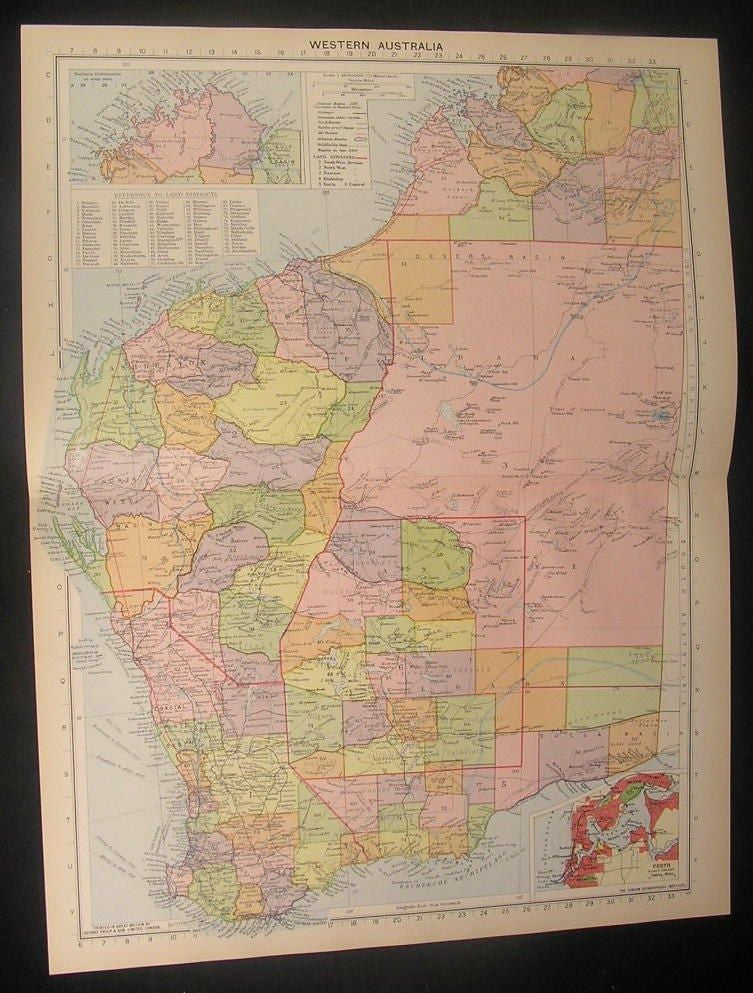 Western Australia gold fields c.1922 vintage large detailed Philip color map