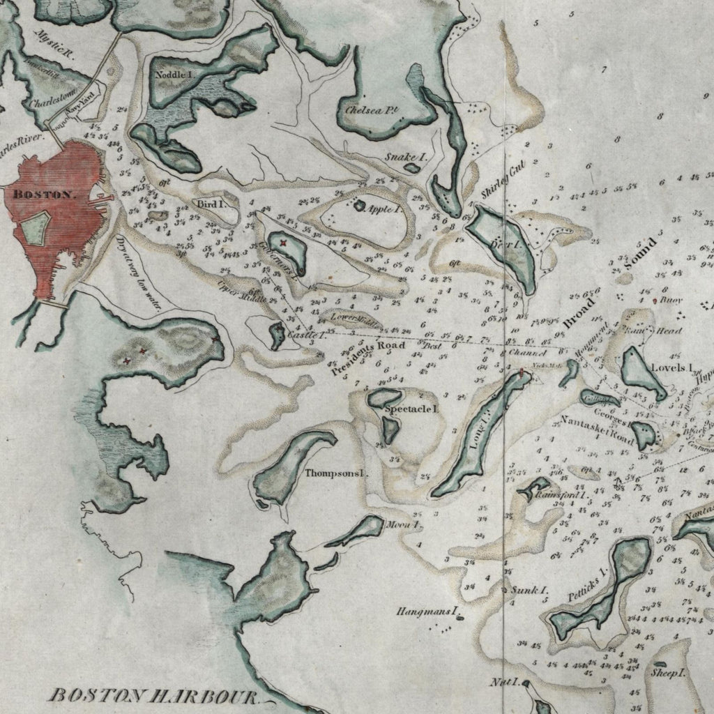 Boston Harbor Massachusetts 1833 Blunt small old nautical map hand color