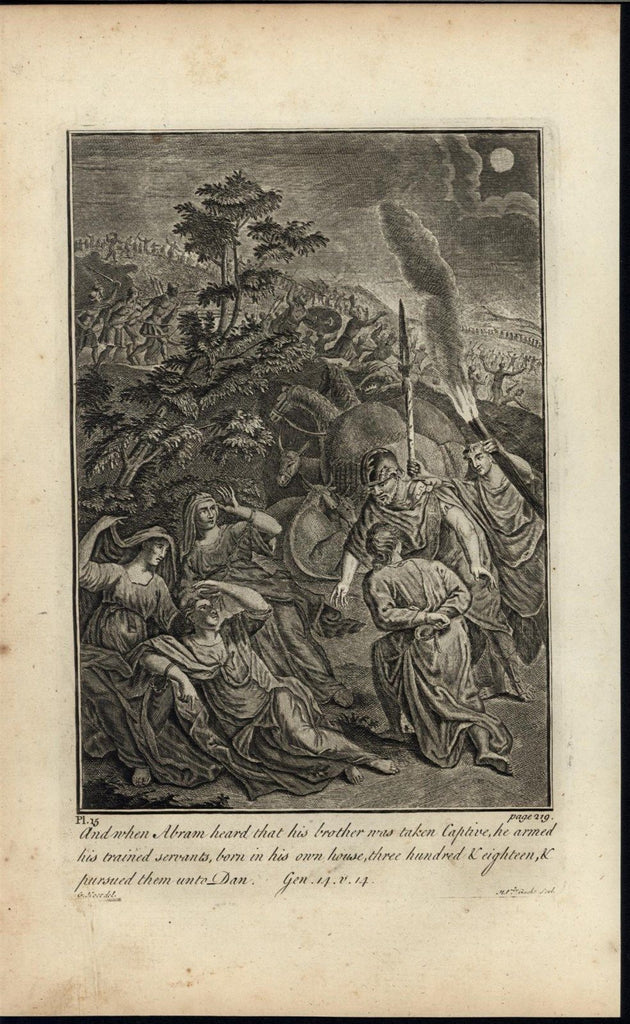 Abraham Rescuing Brother Servants c.1750 antique copper engraved Bible print