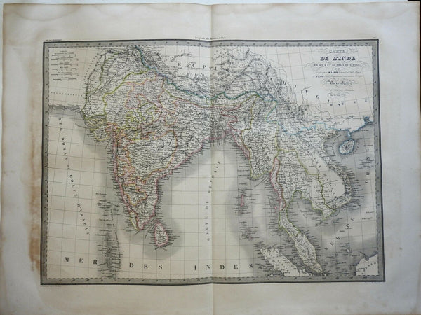 East Indies India Southeast Asia British Raj Mysore Burma Vietnam 1842 Lapie map