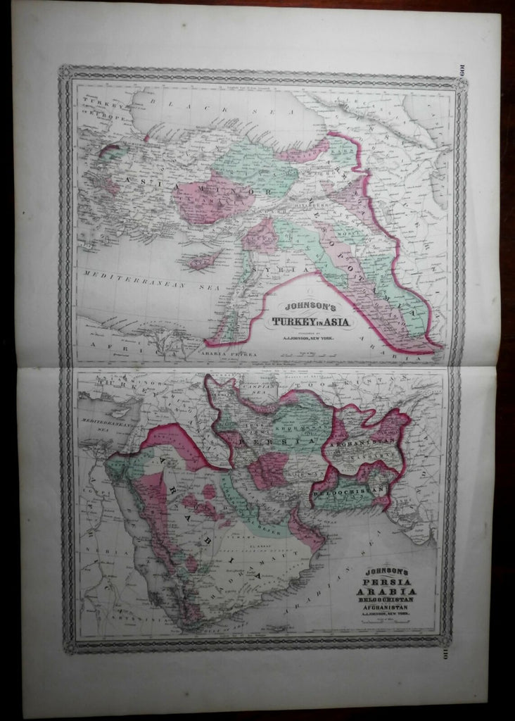 Ottoman Empire Persia Afghanistan Arabia 1870 Johnson large map hand color
