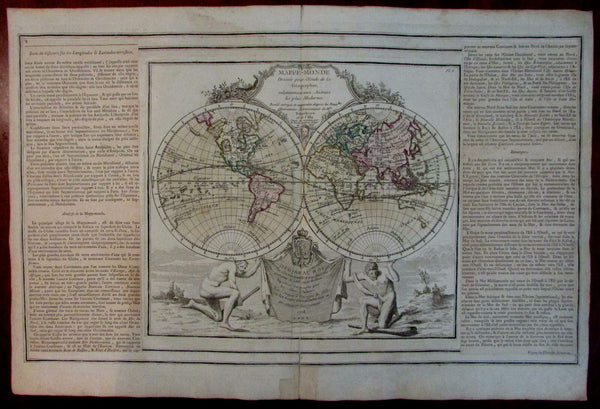 Decorative World double hemisphere 1778 Sea of West Mer de L'Ouest myth pre-Cook