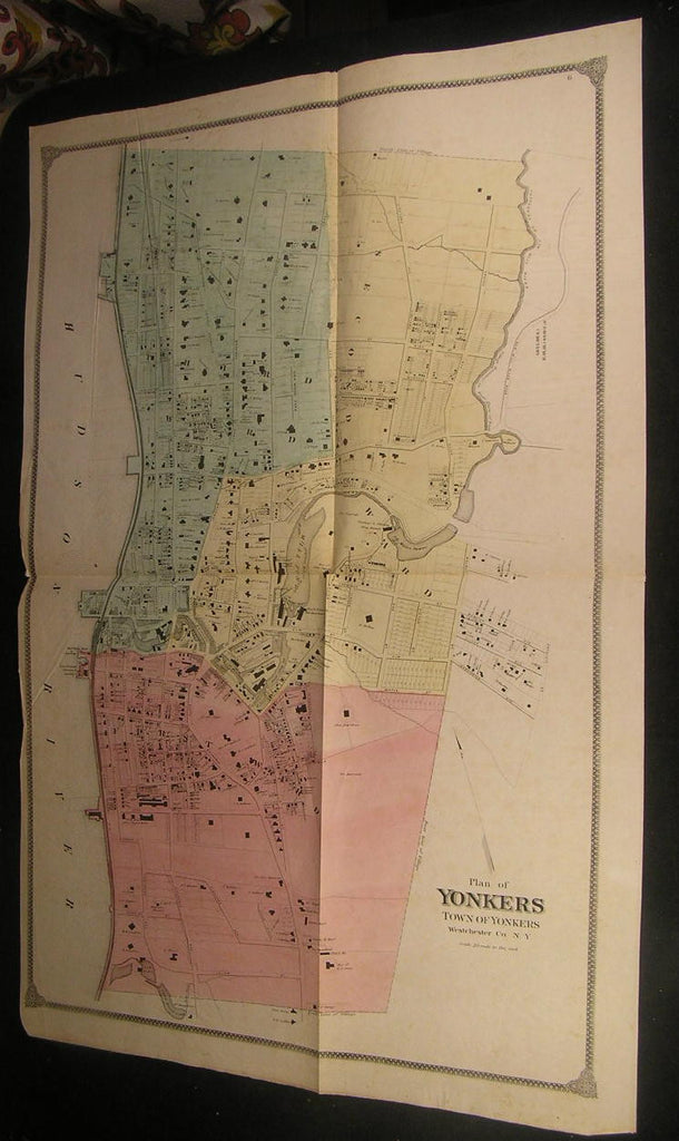 Yonkers Westchester County New York ca. 1870's Huge antique city plan hand color