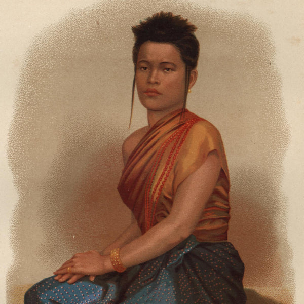Cambodia SE Asia young woman Garnier 1876 scarce lovely old ethnic costume print