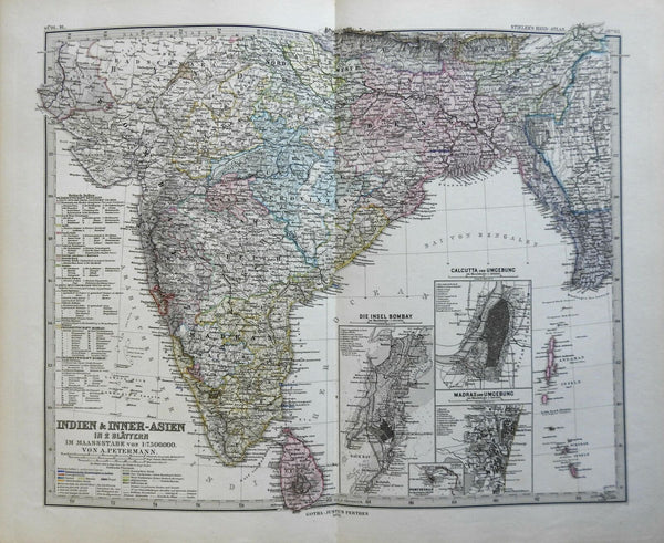 Southern India Bombay Madras Calcutta Sri Lanka 1875 Stieler detailed map