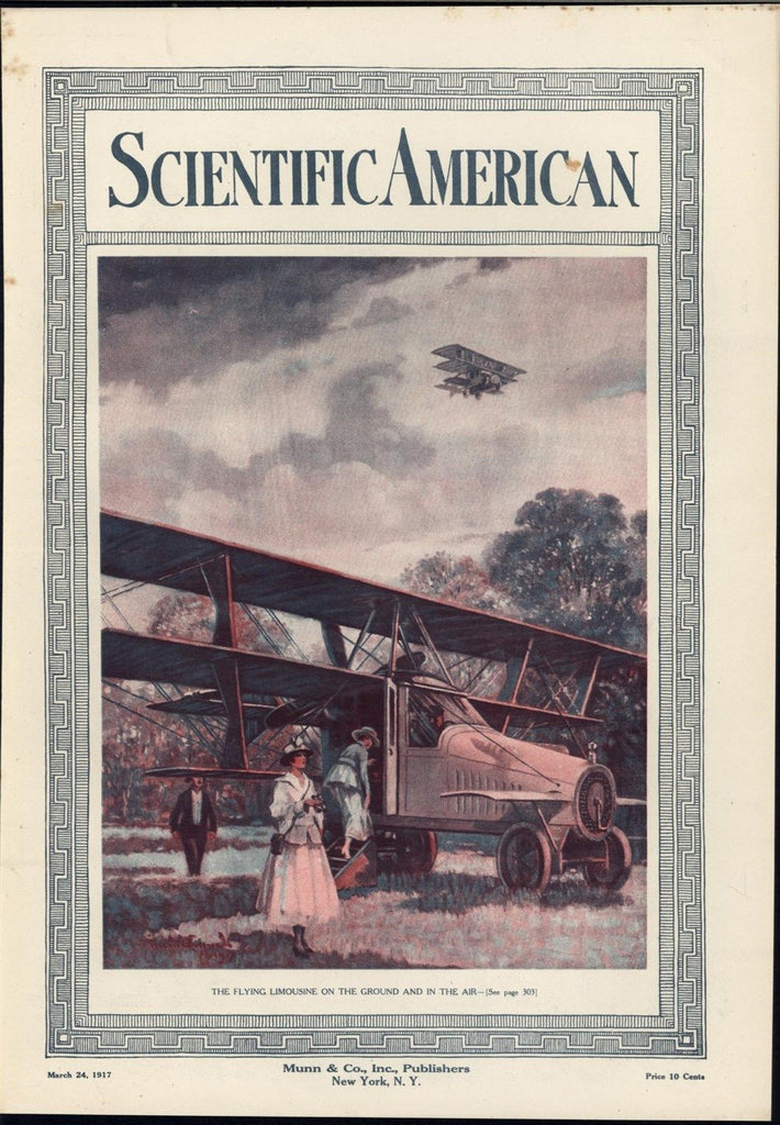 Flying Limousine Luxurious Airplane Biplane Wealth 1917 vintage scientific print