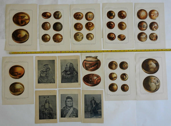Native American Pottery & Portraits 1890s beautiful color prints rare lot of 24
