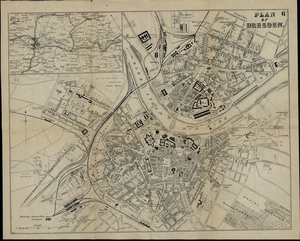 Dresden Germany Elbe River c. 1880 detailed scarce folding city plan old map