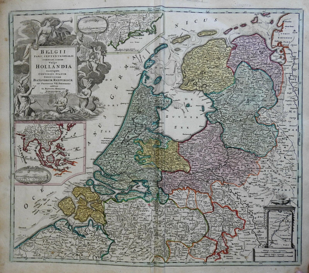 Dutch Netherlands United Provinces Holland c. 1750 Homann decorative folio map