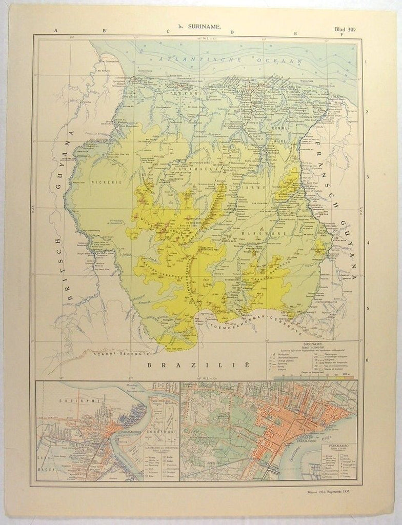Suriname South America Paramaribo 1937 fine old vintage antique map