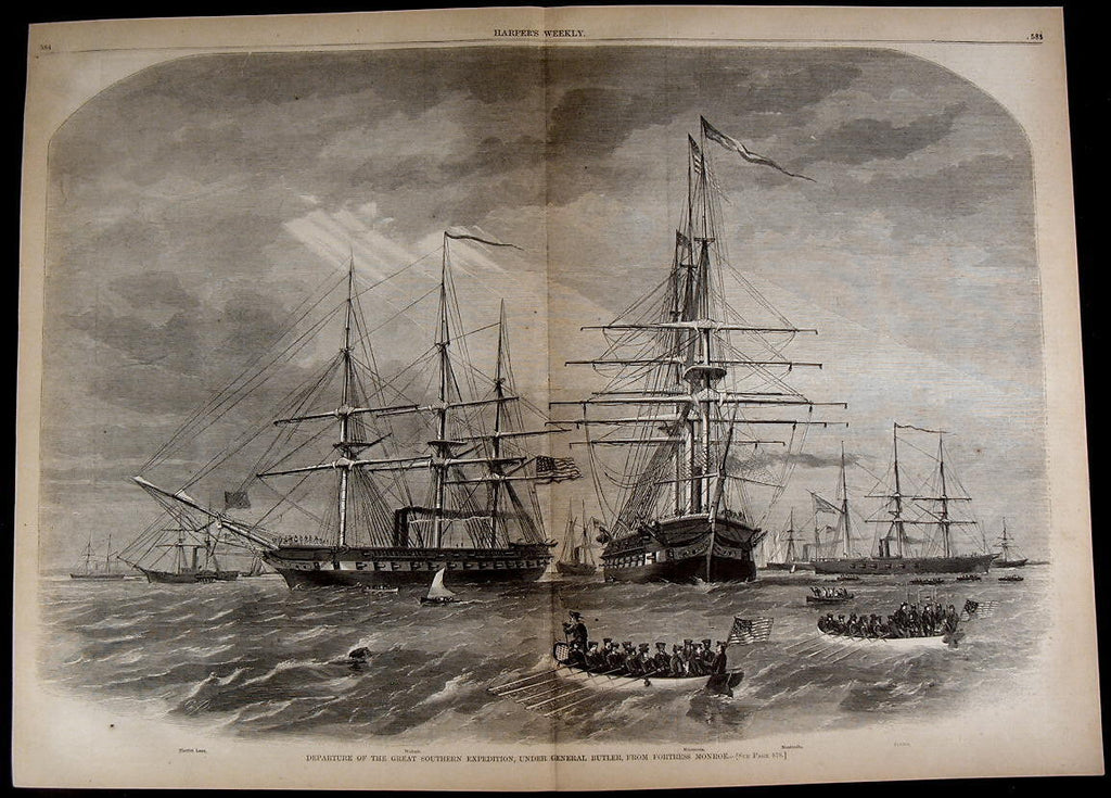 Great Southern Expedition General Butler Fleet 1861 great old print for display