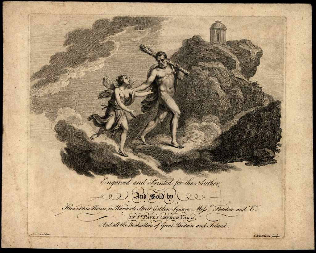 Francesco Bartolozzi antique engraving c.1790's Title page Gods Heavens Temple