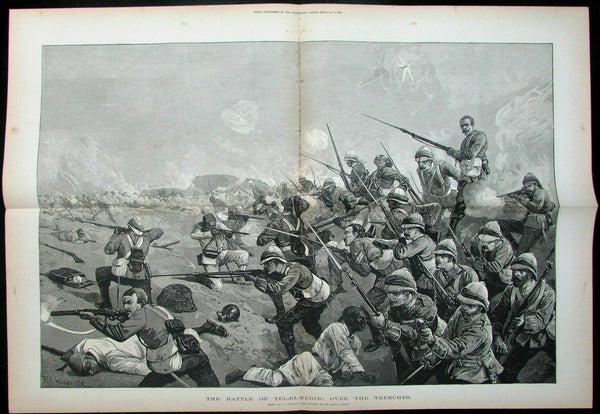 Battle of Tell El Kabir Anglo-Egyptian War trenches soldiers 1884 large print